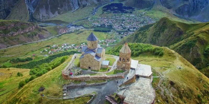Kazbegi Tour Aerial view of Gergeti Monastery