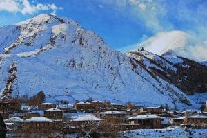 View of Gergeti and Kazbegi mountain in Winter