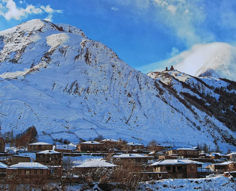 View of Gergeti and Kazbegi mountain in Winter