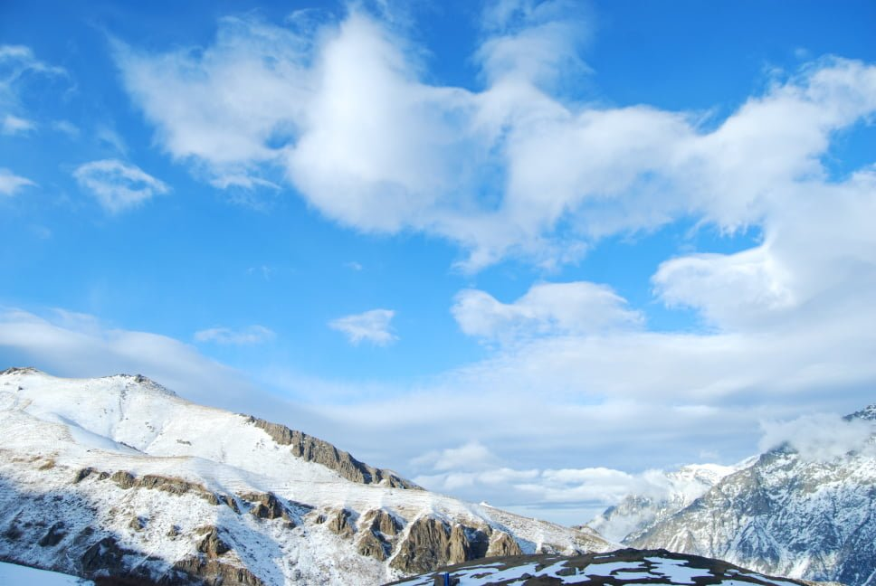 Clear skies on top of Kazbegi in winter