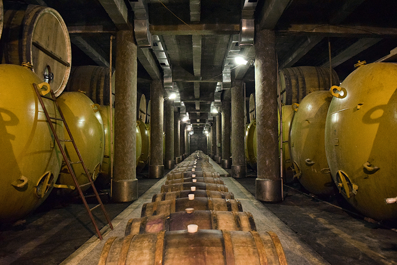 wine barrels in kindzmarauli