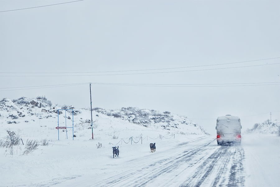 Winter roads in Armenia close to Sevan Lake