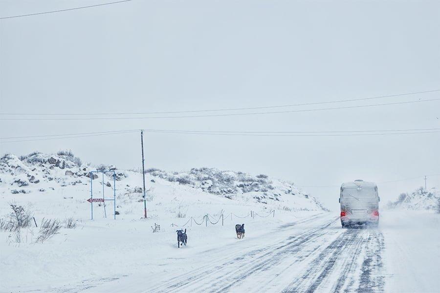 Winter roads in Armenia close to Sevan Lake