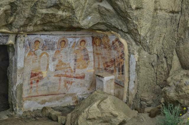 Frescoes in Bertubani Davit Gareji Monastery Complex