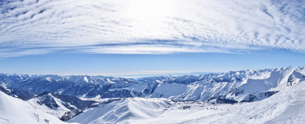 View of Gudauri Mountains from the top in winter