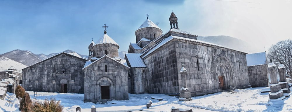 Panorama of Haghpat Monastery in Winter