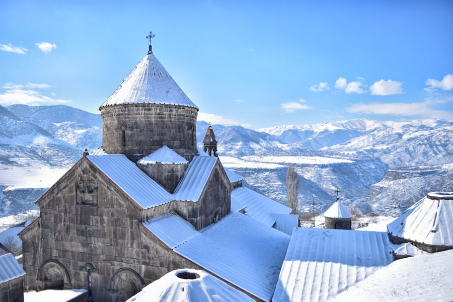 Haghpat Monastery Views from the top in Winter covered with snow