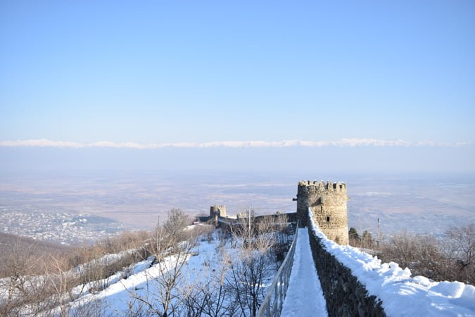 Signagi city wall in snow in winter