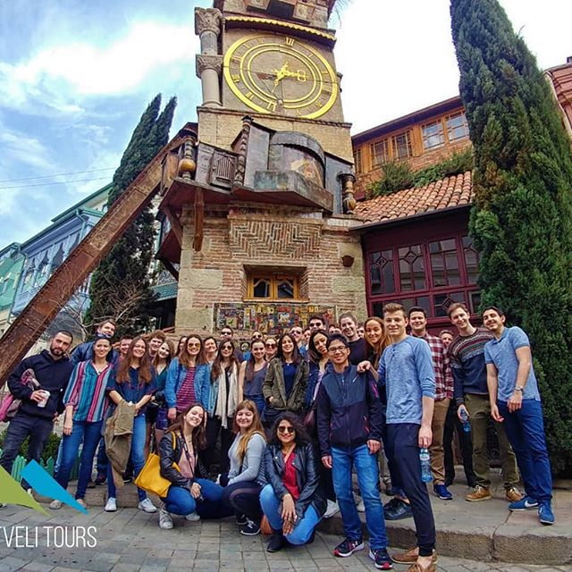 Group of Tourists in fron of the Gabriadze Clock Tower
