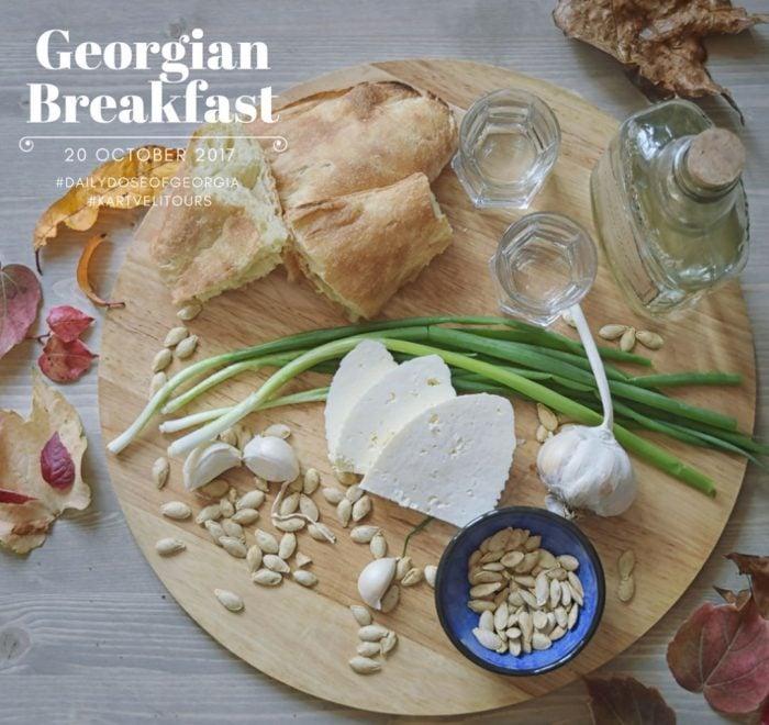 Georgian farmers breakfast, bread cheese and chacha