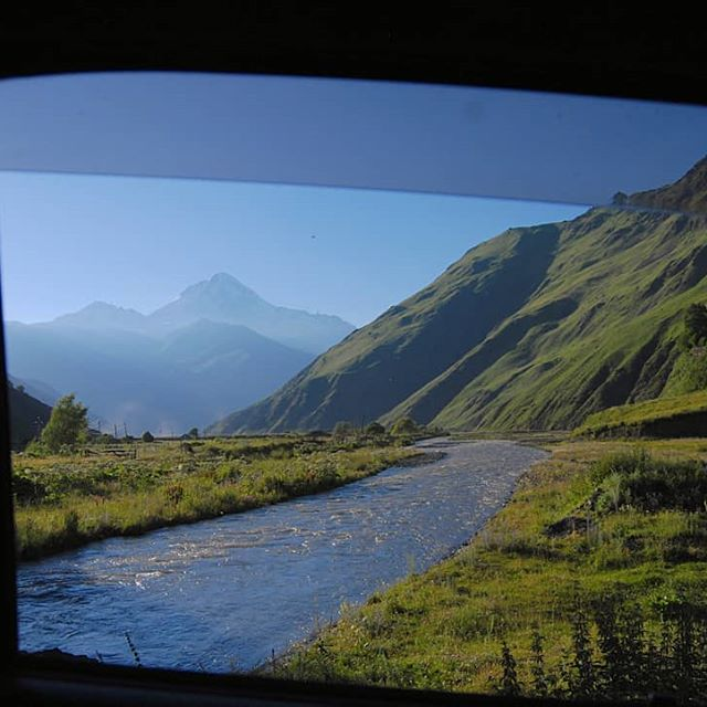 Mount Kazbegi View from Sno Valley river