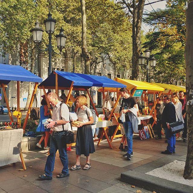Tbilisi Street Market tourists Buying souvenirs