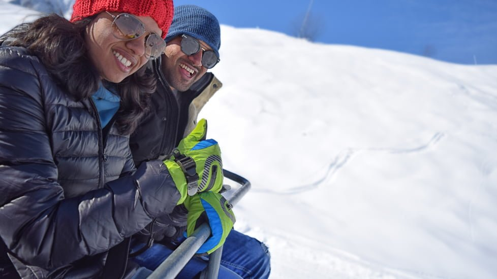 gudauri ski lifts couple on a tour