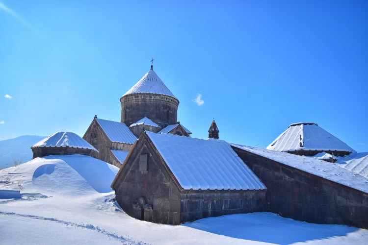 Haghpat Monastery in Winter covered with snow
