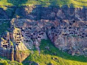 Cave city of Vardzia, Aerial view form oposing mountain