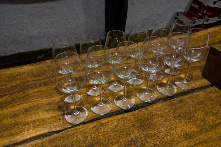 Glasses ready for wine tasting in khareba wine factory