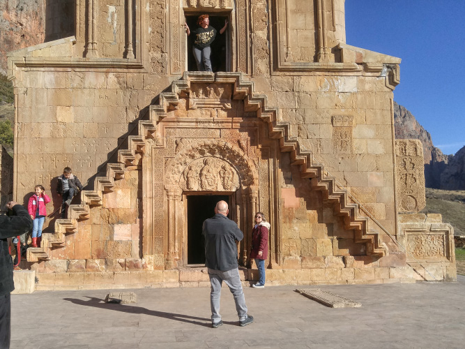 Noravank Monastery stairs. Two storied church