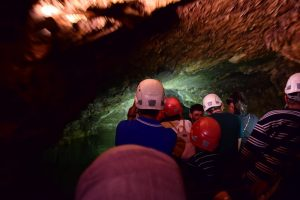 Underground boat ride in Prometheus Caves