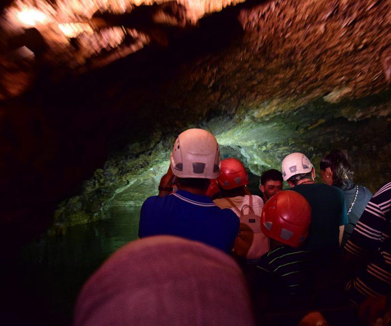 Underground boat ride in Prometheus Caves